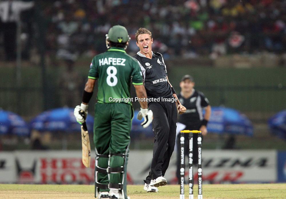 Tim Southee celebrates the wicket of Hafeez at the ICC Cricket World Cup. New Zealand vs Paksitan.Pallekele Cricket Stadium, Kandy, Sri Lanka.Tuesday 8 March 2011. Photo: photosport.co.nz