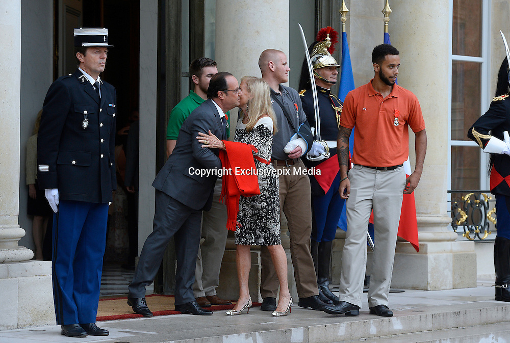 French President Hollande presents three Americans and a British grandfather who tackled Paris train terrorist with France's highest honour for bravery for preventing 'carnage'<br /> <br /> Three Americans and a British grandfather who prevented 'carnage' by tackling the French train terrorist have been awarded France's highest honour for bravery.<br /> U.S. Airman Spencer Stone, National Guardsman Alek Skarlatos, their friend Anthony Sadler and Briton Chris Norman were presented with the Legion d'Honneur at the Elysee Palace in Paris.<br /> French President Francois Hollande, who pinned on their medals, praised the men for taking action in the face of terrorism.<br /> The ceremony was held as the first heroic passenger who wrestled a machine gun from the terrorist was today revealed to be an American professor.<br /> <br /> Mark Moogalian, an academic at the University of Paris, was shot in the neck as he fought with Ayoub El-Khazzani on board the high-speed service from Amsterdam to Paris.<br /> The other four men then stepped in to overpower the attacker and tie him up.<br /> Speaking at the medal ceremony, Mr Hollande told Mr Stone and Mr Skarlatos that while they may have been soldiers on that day 'you were simply passengers. You behaved as soldiers but also as responsible men.'<br /> <br /> Photo shows: French President Francois Hollande  U.S. National Guardsman Alek Skarlatos and Anthony Sadler and  Spencer Stone<br /> ©Exclusivepix Media
