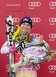 19.12.2010, Val D Isere, FRA, FIS World Cup Ski Alpin, Ladies, Super Combined, im Bild Lindsey Vonn (USA) during the medal ceremony for the women's Super Combined race at the FIS Alpine skiing World Cup Val D'Isere France. Lindsey Vonn (USA) won the race with Elisabeth Goergl (AUT) 2nd and Nicole Hosp (AUT) 3rd. EXPA Pictures © 2010, PhotoCredit: EXPA/ M. Gunn / SPORTIDA PHOTO AGENCY
