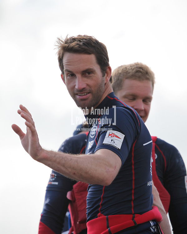 Team Land Rover BAR's Sir Ben Ainslie in Portsmouth following the first day of sailing at the America's Cup Series event.