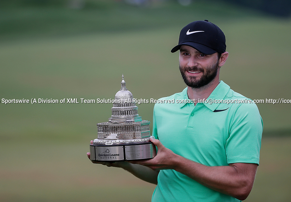 POTOMAC, MD - JULY 02: Kyle Stanley with the trophy after the final round of the Quicken Loans National at TPC Potomac at Avenel Farm in Potomac, MD.(Photo by Justin Cooper/Icon Sportswire)