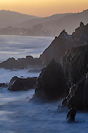 Waves crashing on shore at Red Rocks Beach, near the town of Stinson Beach, Marin County, California