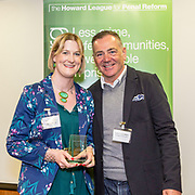 Criminal Justice Champion Runner up<br /> Philippa Tibbetts, West Yorkshire Community Rehabilitation Company with Professor David Wilson. The Howard League for Penal reform's Community Awards 2015 The Kings Fund, London, UK. All use must be credited © prisonimage.org