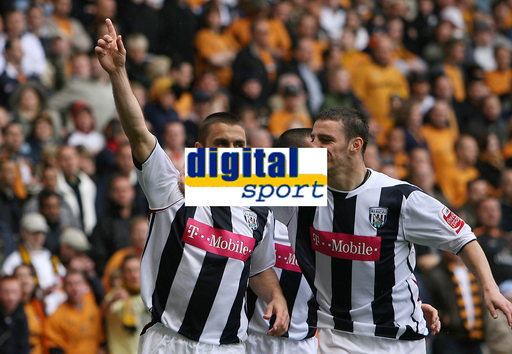 Photo: Rich Eaton.<br /> <br /> Wolverhampton Wanderers v West Bromwich Albion. Coca Cola Championship. Play off Semi Final, 1st Leg. 13/05/2007. West Broms Kevin Phillips left celebrates scoring in the second half to make it 2-2 with Jason Koumas right