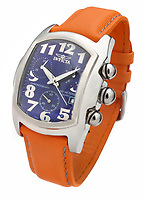orange band invicta watch with a blue face