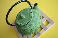 Green traditional japanese cast iron teapot