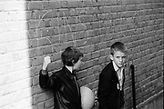 Gary and Neville with Graffiti, Palmers Green Alley, 1980s.