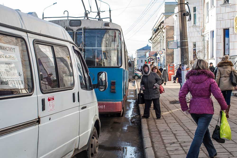 A downtown street on Tuesday, February 25, 2014 in Tver, Russia. Alexander Panin, a Tver native, was arrested in the Dominican Republic in June 2013, and is set to be charged by federal authorities in the US with being part of a gang which robbed bank accounts via the Internet. Photo by Brendan Hoffman, Freelance