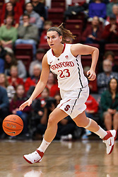 February 24, 2011; Stanford, CA, USA;  Stanford Cardinal guard Jeanette Pohlen (23) dribbles up court against the Oregon St. Beavers during the first half at Maples Pavilion.