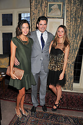 Left to right, AMANDA FERRY, EDWARD TAYLOR and AMANDA CROSSLEY at a dinner hosted by Edward Taylor and Alexandra Meyers in association with Johnnie Walker Blue Label held at Mark's Club, 46 Charles Street, London W1 on 26th April 2012.