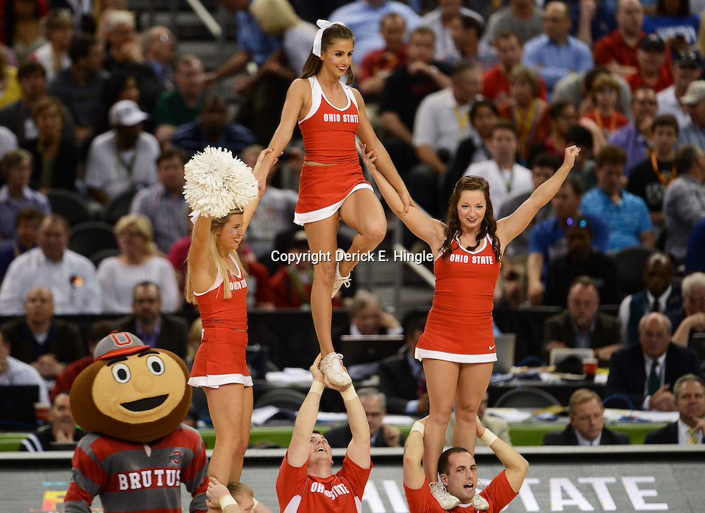 Mar 31, 2012; New Orleans, LA, USA; Ohio State Buckeyes cheerleaders perform during the second half in the semifinals of the 2012 NCAA men's basketball Final Four against the Kansas Jayhawks at the Mercedes-Benz Superdome. Mandatory Credit: Derick E. Hingle-US PRESSWIRE
