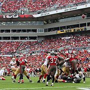 An extra point attempt during an NFL football game between the San Francisco 49ers  and the Tampa Bay Buccaneers on Sunday, December 15, 2013 at Raymond James Stadium in Tampa, Florida.. (Photo/Alex Menendez)