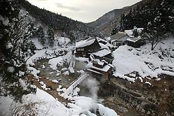 The small inn, Korakukan Jigokudani,  outside the Monkey Park hot springs in Japan.
