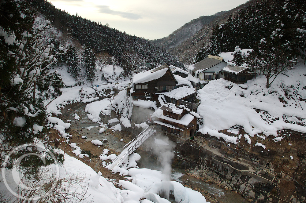 The small inn, Korakukan Jigokudani,  outside the Monkey Park hot springs in Japan.