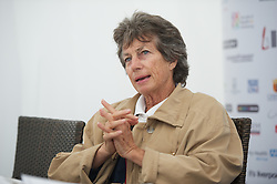 LIVERPOOL, ENGLAND - Friday, June 22, 2012: Virginia Wade speaks at a press conference during day two of the Medicash Liverpool International Tennis Tournament at Calderstones Park. (Pic by David Rawcliffe/Propaganda)