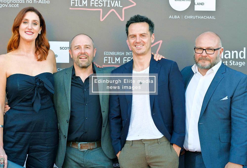 Edinburgh International Film Festival, Saturday, 24 June 2018<br /> <br /> STEEL COUNTRY (WORLD PREMIERE)<br /> <br /> Pictured:  Bronagh Waugh, director Simon Fellows, Andrew Scott and producer Gareth Unwin<br /> <br /> <br /> (c) Alex Todd   Edinburgh Elite media