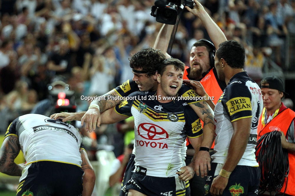 Lachlan Coote celebrates the try of Kyle Feldt with Ethan Lowe<br /> Broncos v Cowboys NRL Grand Final rugby league match at ANZ Stadium, Homebush Australia. Sunday 4 October 2015. Photo: Paul Seiser/Photosport.nz