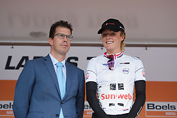 Floortje Mackaij retains the youth jersey at Boels Rental Ladies Tour Stage 1 a 132.8 km road race from Eibergen to Arnhem, Netherlands on August 30, 2017. (Photo by Sean Robinson/Velofocus)
