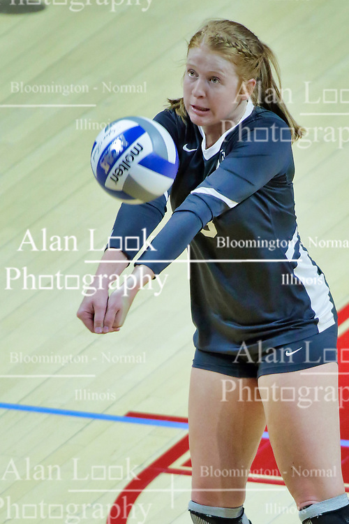 BLOOMINGTON, IL - October 12: Katherine Carlson during a college Women's volleyball match between the ISU Redbirds and the Valparaiso Crusaders on October 12 2018 at Illinois State University in Bloomington, IL. (Photo by Alan Look)