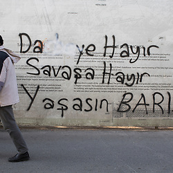 A graffiti that reads &quot;No to the coup the etat, no to war, long live peace&quot; in the Fatih district of Istanbul on March 10, 2017.<br /> On April 16, 2017, Turkish citizens will vote on proposed changes on the constitution that could replace the current parliamentary government system with a presidential one.