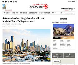 Air Canada enRoute website; skyline of Dubai
