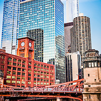 Picture of Chicago buildings at LaSalle Street Bridge (Marshall Suloway Bridge) with the Reid Murdoch Building / Encyclopaedia Britannica Building (325 North LaSalle Street), Quaker Tower (321 North Clark Street), 353 North Clark Street Building, Westin Chicago River North (320 North Dearborn Avenue), Marina City Towers (300 North State Street) and Trump International Hotel and Tower (401 North Wabash Avenue)