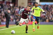 Aston Villa midfielder Jack Grealish (10) battles with Derby County striker Kasey Palmer (7) during the EFL Sky Bet Championship match between Aston Villa and Derby County at Villa Park, Birmingham, England on 28 April 2018. Picture by Jon Hobley.