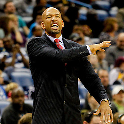 Jan 21, 2013; New Orleans, LA, USA; New Orleans Hornets head coach Monty Williams against the Sacramento Kings during the second half of a game at the New Orleans Arena. The Hornets defeated the Kings 114-105. Mandatory Credit: Derick E. Hingle-USA TODAY Sports