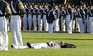 A Command Brigade Cadet fainted while standing in formation on the Plain during the Thayer Award parade and presentation for Retired General Frederick J. Kroesen, Jr. at the United States Military Academy at West Point, NY on Thursday, September 20, 2007.