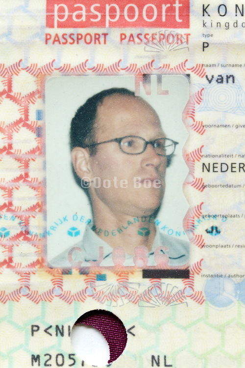 ID photo on passport document of the Netherlands