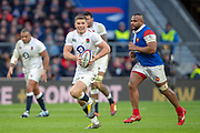 Twickenham, United Kingdom. 7th February, Owen FARRELL, running with the ball, during the England vs France, 2019 Guinness Six Nations Rugby Match   played at  the  RFU Stadium, Twickenham, England, <br /> &copy; PeterSPURRIER: Intersport Images