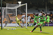 Forest Green Rovers Christian Doidge(9) celebrates Forest Green Rovers Omar Bugiel(11) goal, 1-1 during the EFL Sky Bet League 2 match between Port Vale and Forest Green Rovers at Vale Park, Burslem, England on 16 September 2017. Photo by Shane Healey.