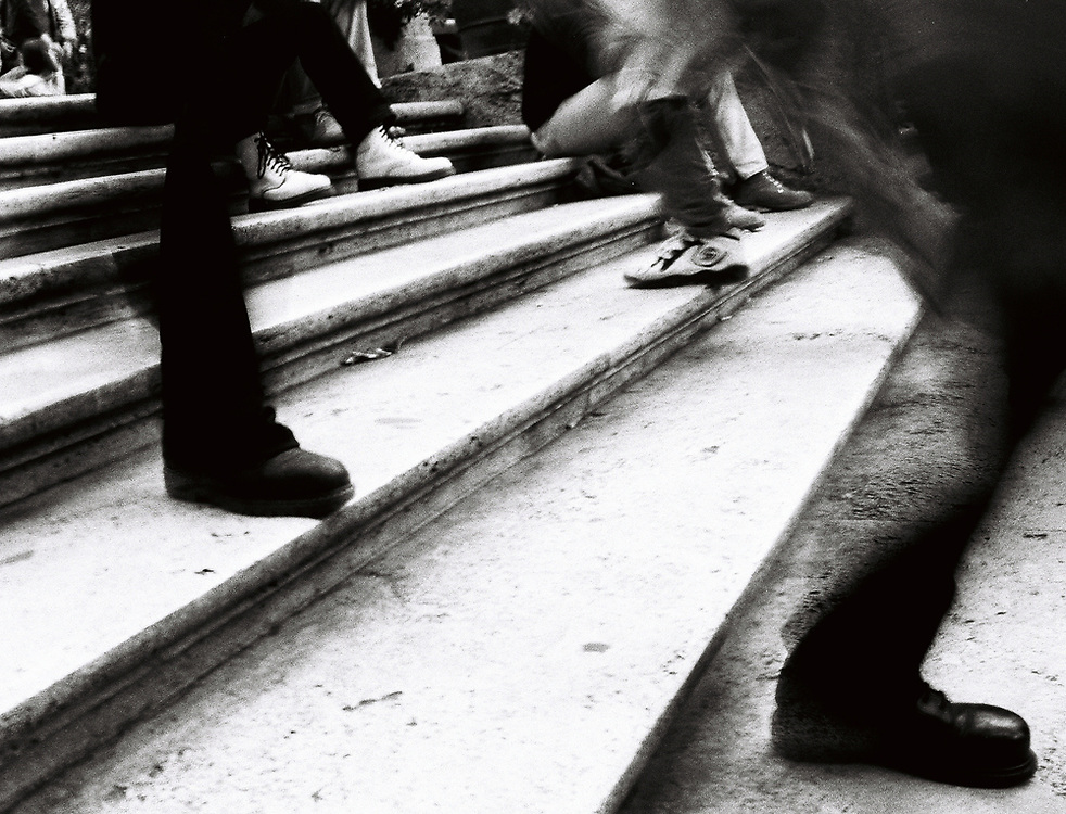 The rush up and down the Spanish Steps in Rome.
