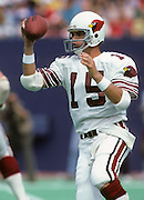 St. Louis Cardinals quarterback Neil Lomax (15) prepares to pass during the NFL football game between the Arizona Cardinals and the New York Giants on September 22, 1985 in East Rutherford, New Jersey. The Giants won the game 27-17. ©Paul Anthony Spinelli