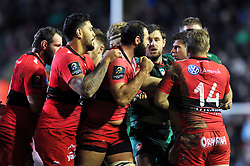 Mamuka Gorgodze of Toulon clenches his fist as tempers flare between him and Ben Youngs of Leicester Tigers - Photo mandatory by-line: Patrick Khachfe/JMP - Mobile: 07966 386802 07/12/2014 - SPORT - RUGBY UNION - Leicester - Welford Road - Leicester Tigers v Toulon - European Rugby Champions Cup
