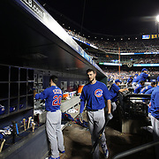 NEW YORK, NEW YORK - July 02: Kris Bryant #17 of the Chicago Cubs in the dugout preparing to bat during the Chicago Cubs Vs New York Mets regular season MLB game at Citi Field on July 02, 2016 in New York City. (Photo by Tim Clayton/Corbis via Getty Images)