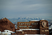 Entrance Sign, Winter, Capitol Reef, Capitol Reef National Park, Utah