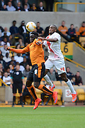 Nouha Dicko and Zakarya Bergdich challenge for the ball during the Sky Bet Championship match between Wolverhampton Wanderers and Charlton Athletic at Molineux, Wolverhampton, England on 29 August 2015. Photo by Alan Franklin.