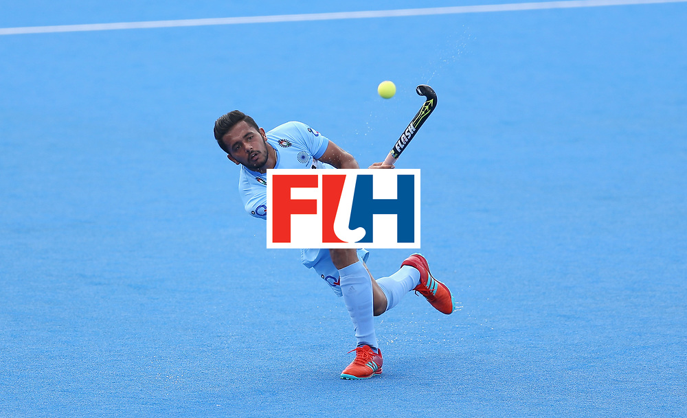LONDON, ENGLAND - JUNE 25: Harmanpreet Singh of India in action during the 5th/6th place match between India and Canada on day nine of the Hero Hockey World League Semi-Final at Lee Valley Hockey and Tennis Centre on June 25, 2017 in London, England. (Photo by Steve Bardens/Getty Images)