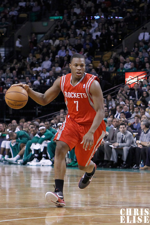 06 March 2012: Houston Rockets point guard Kyle Lowry (7) dribbles during the Boston Celtics 97-92 (OT) victory over the Houston Rockets at the TD Garden, Boston, Massachusetts, USA.