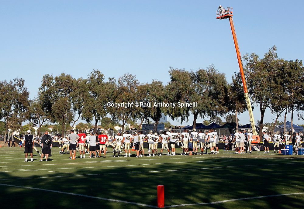 General overhead view as a cameraman takes overhead video at the New Orleans Saints west coast NFL training camp on Wednesday, August 24, 2011 in Oxnard, California. (©Paul Anthony Spinelli)