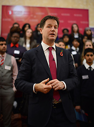 © Licensed to London News Pictures.05/11/2013. London, UK.Deputy Prime Minister Nick Clegg holding a Q&A session with students during his visit at a Careers Fair attended by over 200 children from schools across the country. Some of Britain's largest companies will be exhibiting at the event and inspiring young people in careers speed-dating and other workshops. Photo credit : Peter Kollanyi/LNP