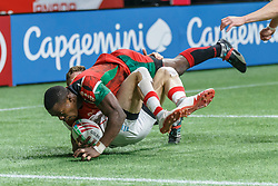 March 9, 2019 - Vancouver, BC, U.S. - VANCOUVER, BC - MARCH 09: Cyprian Kuto #6 of Kenya rolls over a Canada tackler to score during Game #21- Kenya 7s vs Canada 7s in Pool B match-up at the Canada Sevens held March 9-10, 2019 at BC Place Stadium in Vancouver, BC, Canada. (Photo by Allan Hamilton/Icon Sportswire) (Credit Image: © Allan Hamilton/Icon SMI via ZUMA Press)