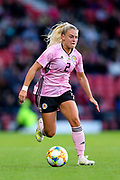Kirsty Smith (#2) of Scotland on the ball during the International Friendly match between Scotland Women and Jamaica Women at Hampden Park, Glasgow, United Kingdom on 28 May 2019.