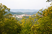 Village of Galaroza, Sierra de Aracena, Huelva province, Spain in mountainous wooded landscape