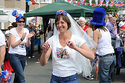 Sidcup, UK  29/04/2011. The Royal Wedding of HRH Prince William to Kate Middleton..Street party Cambridge Road,Sidcup,South East London, celebrating the Royal Wedding..Andrea Hill(resident) dressed as the bride..Photo credit should read Grant Falvey/LNP. Please see special instructions. © under license to London News Pictures