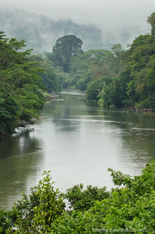 San Carlos River in mist, Boca Tapada, Costa Rica