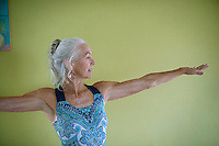 Yogini in perfect alignment with her life.