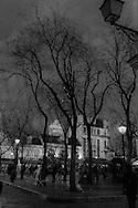 France. Paris. 18th district. , , Montmartre hill . place du tertre  at Dusk