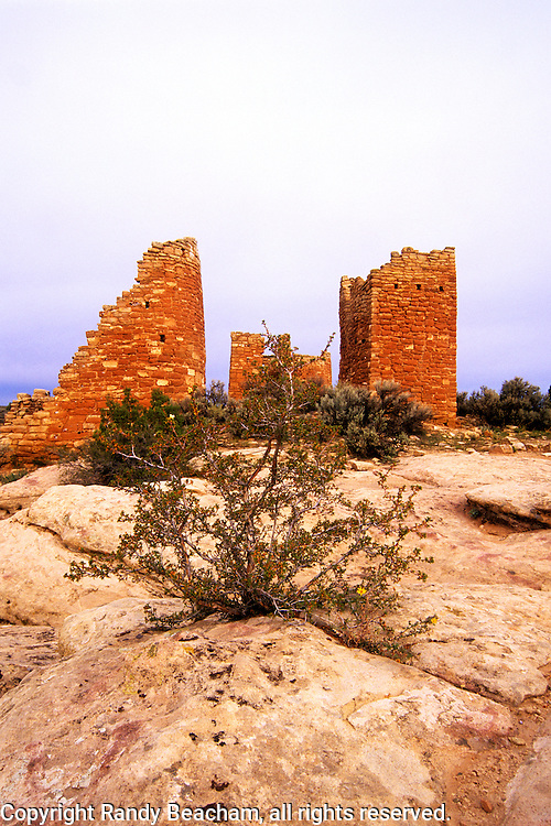 Hovenweep Castle before sunrise. Hovenweep National Monument, Utah